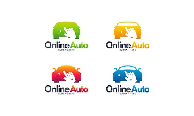 온라인 자동차 로고 디자인 개념 벡터, 온라인 운송 서비스 로고 템플릿 기호 집합
