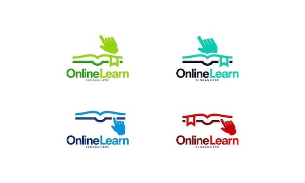 Набор шаблонов логотипа онлайн-образования, шаблон логотипа образования пиксельной книги проектирует векторные иллюстрации