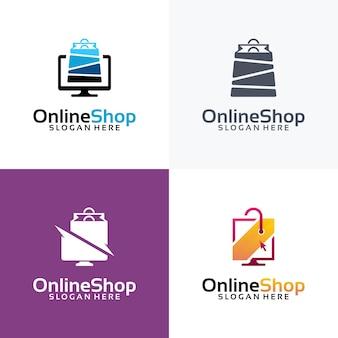 Набор шаблонов дизайна логотипа интернет-магазина, компьютера и логотипа корзины.