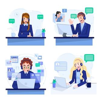 オンラインサポートまたはコールセンターサービスの概念図のセット