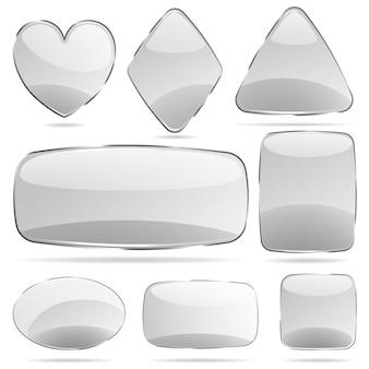 灰色の不透明なガラスの形のセット