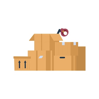 사무실이나 집의 이전을 위한 열린 판지 상자 세트와 닫힌 판지 상자 세트