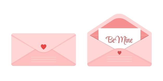 마음으로 장식된 열리고 닫힌 분홍색 봉투 세트. 낭만적인 메모가 있는 귀여운 연애 편지 - 내 것이 되십시오. 공간을 복사합니다. 발렌타인 데이 달콤한 요소입니다.