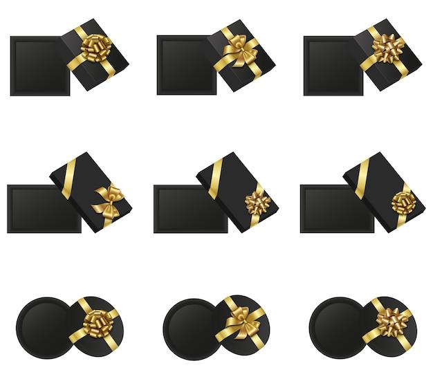 上から見たオープンギフトボックスのセット。金の弓で隔離された黒いギフトボックス。ブラックフライデーの要素