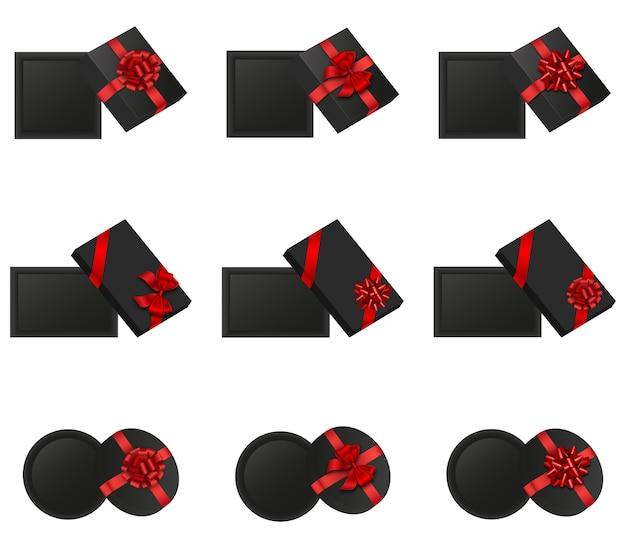 위에서 본 오픈 선물 상자 세트입니다. 빨간 리본으로 격리 된 검은 선물 상자입니다. 검은 금요일 요소