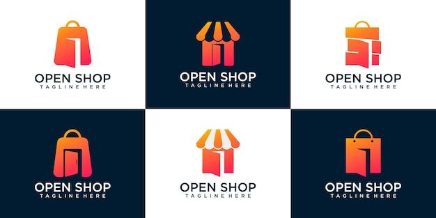 バッグとドアの組み合わせ、ロゴデザインテンプレートプレミアムベクトルとオープンショップのセット