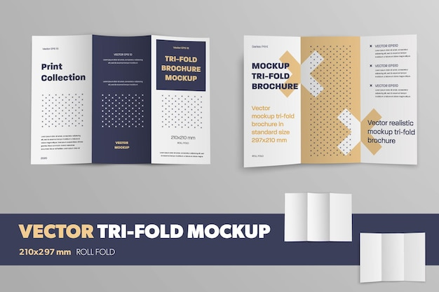 Набор открытых векторных буклетов на сером фоне с узором. макет реалистичной брошюры для дизайна презентации. деловой шаблон trifold с тенями.