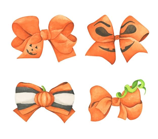 오렌지와 블랙 할로윈 활 세트입니다. 수채화 그림입니다.