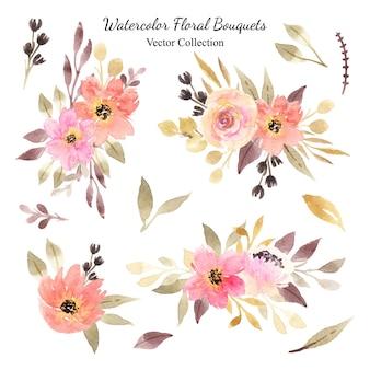 オレンジとピンクの水彩花の花束のベクトルコレクションのセット