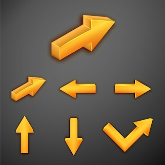 インフォグラフィックのオレンジ色の金属矢印のセット
