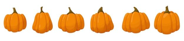 Набор оранжевой тыквы овощной иллюстрации, изолированные на белом фоне