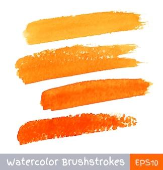 オレンジ色の水彩ブラシストローク、イラストのセット