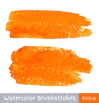 Набор оранжевых акварельных мазков. вектор