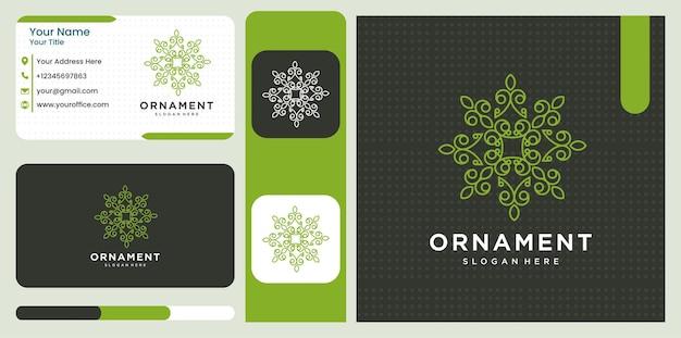 花と葉とトレンディな線形スタイルのoranmentロゴデザインテンプレートのセット