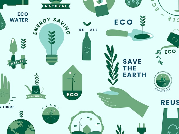 有機的で緑色のアイコンのセット