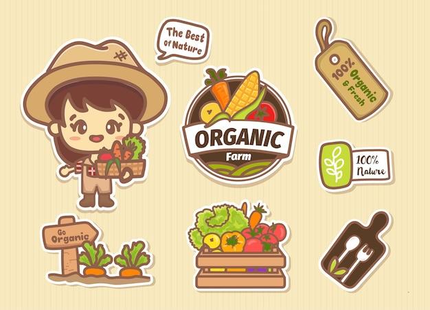 농부 소녀 캐릭터와 로고가 있는 유기농 농장 요소 스티커 세트. 귀여운 만화 벡터