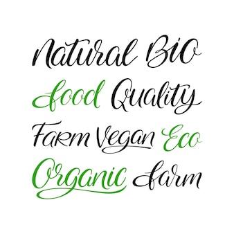 Набор слов handlettering органических продуктов питания. натуральный, био, эко, веганский, органический