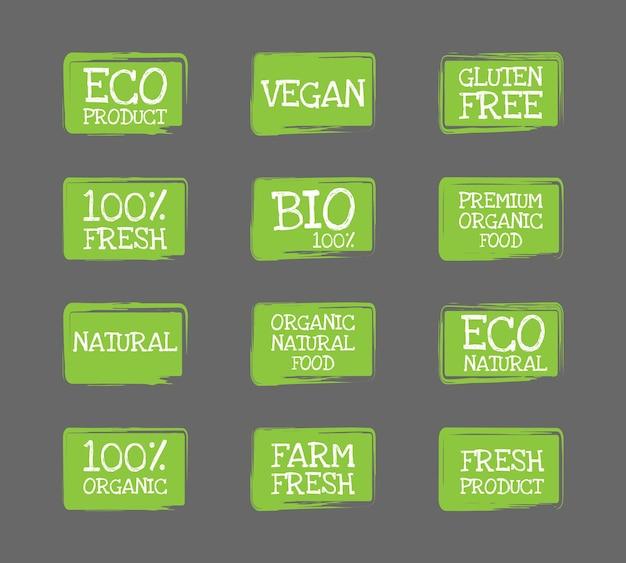 유기농 식품 라벨 세트입니다. 신선한 채식 제품과 건강 식품 배지. 에코 그린 개념입니다. 벡터 일러스트 레이 션