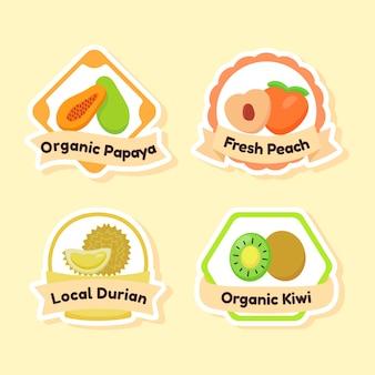 유기 신선한 과일 아이콘 세트