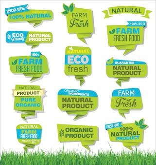 有機の新鮮な自然でおいしい食品ラベルのセット