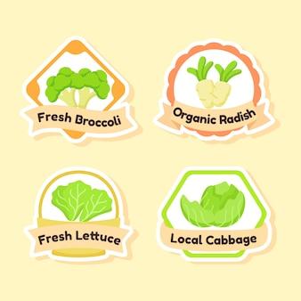 有機の新鮮な野菜のアイコンのセット