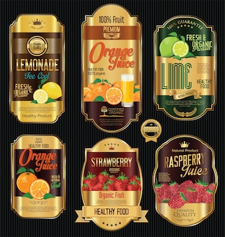 Set of organic fruit labels collection