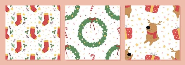 유기 손으로 그린 크리스마스 원활한 패턴 벡터 일러스트 레이 션의 집합