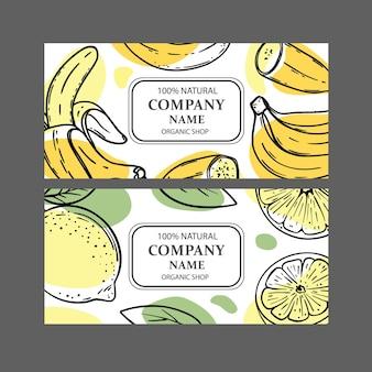 果物のスケッチとオーガニックショップデザインテンプレートのセット