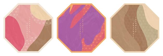 東洋の日本の抽象的な八角形パターンのセット