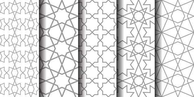 Набор восточных узоров. белый и серый фон с арабскими орнаментами. узоры, фоны и обои для вашего дизайна. текстильный орнамент. векторная иллюстрация.