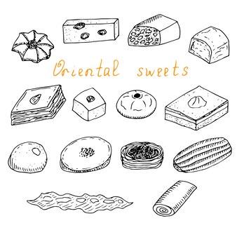 Набор восточных сладостей, векторные иллюстрации, ручной рисунок, эскиз