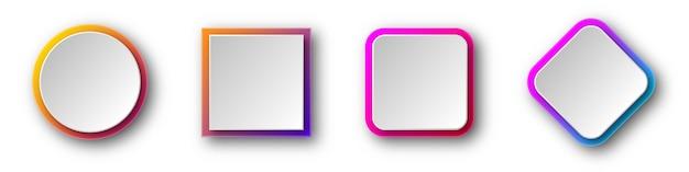 그림자와 함께 종이 접기 배너의 집합입니다. 프리미엄 벡터