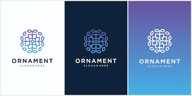 Набор дизайн логотипа орнамент.