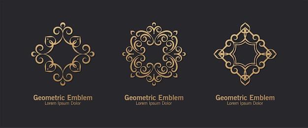 装飾ロゴラインアートスタイルの豪華なセット