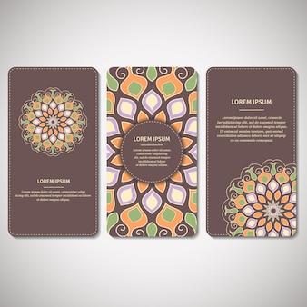 観賞用カード、茶色の花flower羅のチラシのセット