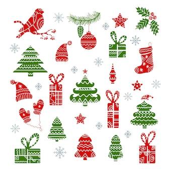 Набор декоративных рождественских элементов