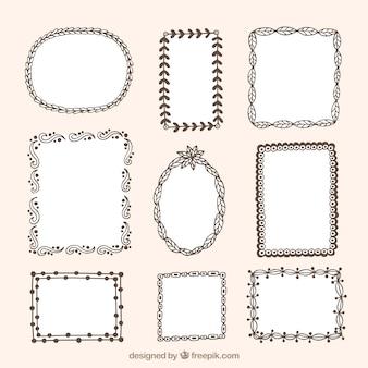 Set of ornamental frames with hand-drawn floral details