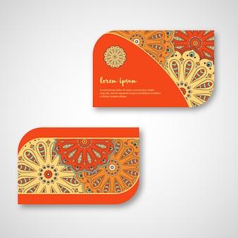 Набор декоративных рисованной мандала карт, бизнес, посетив шаблон. винтажный декоративный стиль. индийский, азиатский, арабский, исламский, османский мотив.
