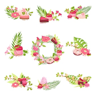 花とお菓子で作られた装飾品のセット。白い背景のイラスト。