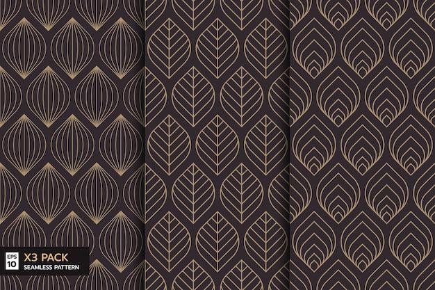 Набор декоративных листьев линии бесшовные модели на коричневом фоне