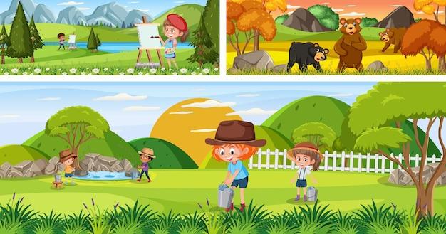 漫画のキャラクターと屋外パノラマ風景のセット