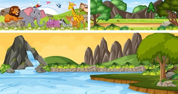 Набор открытого панорамного пейзажа с мультипликационным персонажем