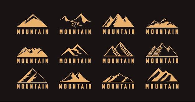 山のアイコンイラストと屋外旅行冒険ロゴのセット