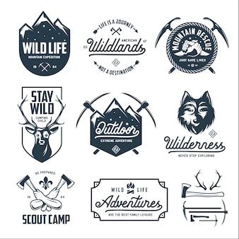 Набор открытых диких животных, связанных с ярлыками значки эмблем