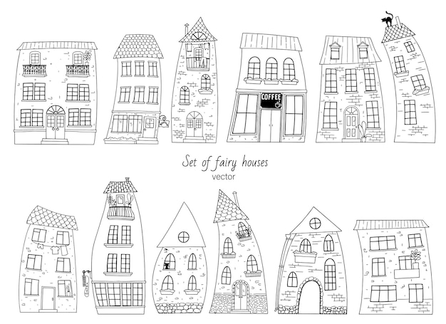 印刷、着色、およびその他のデザイン要素のための家の外形図のセット。