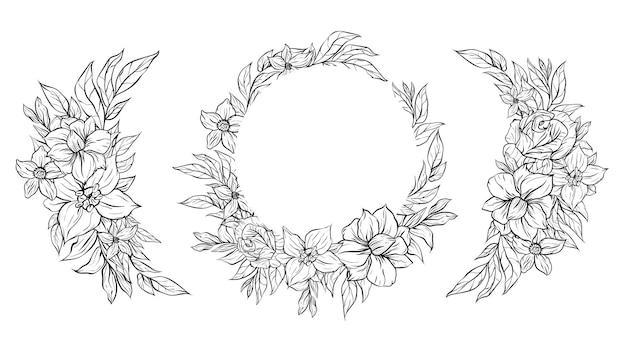 アウトライン花フレーム背景装飾ボーダーのセット