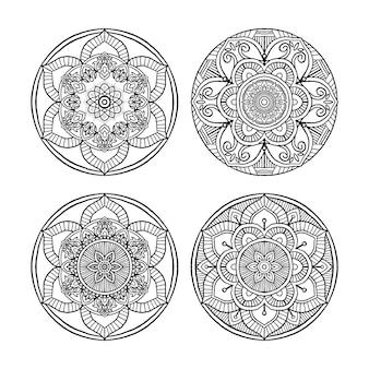 アウトラインマンダラ装飾的な丸い飾りのセット、塗り絵、抗ストレス療法、グリーティングカード、電話ケースのプリントなどに使用できます。白い背景で隔離の手描きスタイル