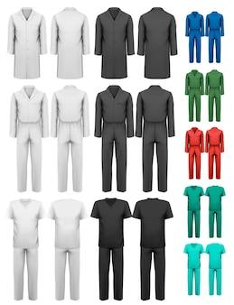 Комплект спецодежды с рабочей и медицинской одеждой. шаблон оформления.