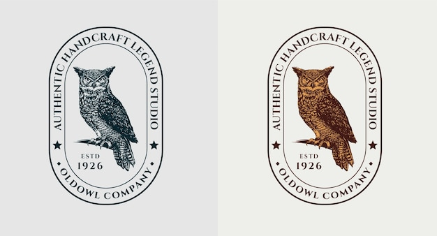 フクロウ彫刻ロゴのセット