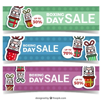 Set of packaging day banners with discounts